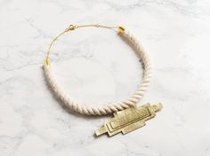 Handmade statement rope and gold leather art deco geometric necklace #LetsCurate