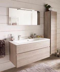 Ensemble de salle de bains Calao 120 cm clair plan vasque en résine | Castorama #ikeaBathroom