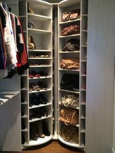 A great storage for pocketbooks, boots and folded clothes, Finally a storage system that can truly utilize a corner. Lazy Lee products - Patent Pending system. http://www.LogicalDesignConcepts.com