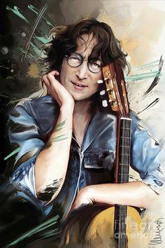 Mixed Media - John Lennon by Melanie D , Les Beatles, Beatles Art, John Lennon Beatles, Julian Lennon, Imagine John Lennon, Blues Rock, Ringo Starr, George Harrison, Paul Mccartney