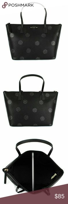 Kate Spade Hani Haven Lane Glitter Tote Handbag Authentic, brand new, with original tags, never used. Stunning black and glitter polka dots Kate Spade handbag that is effortlessly chic. Logo is on the front, with nice smooth handles. Heavy duty zipper that works perfectly. Perfect gift for the perfect girl. kate spade Bags Shoulder Bags