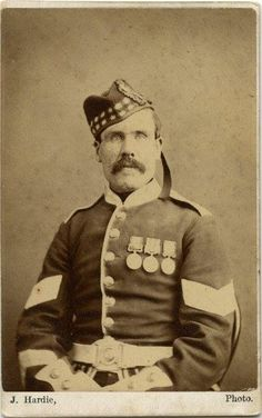 CDV of a Crimean War Veteran of the 71st Regt of Foot wearing his medals.