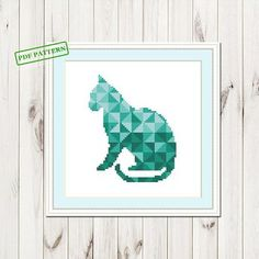Cross Stitch Modern Geometric pdf Pattern Cat Cross Stitch