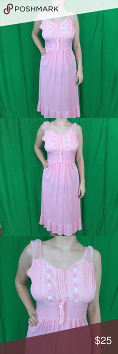 "Vintage Lady Edso Pink Nightgown. Size 40 Vintage Lady Edso Pink Nightgown. Size 40 great ruffled bottom. Excellent condition. Bust: 18.5"" flat. Length:  38"". Great condition. Vintage Intimates & Sleepwear Chemises & Slips"