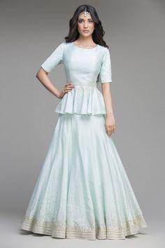 Blue Sequins Work Chanderi Silk Peplum Top And Lehanga Pakistani Formal Dresses, Indian Gowns Dresses, Indian Wedding Outfits, Indian Outfits, Indian Clothes, Stylish Dresses, Fashion Dresses, Wedding Lehenga Designs, Choli Dress