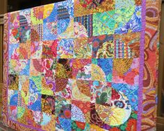 Colorful Circles in Squares Dance Modern Quilt-Made with Kaffe Fassett Fabrics by NonnaZac on Etsy https://www.etsy.com/listing/227399899/colorful-circles-in-squares-dance-modern