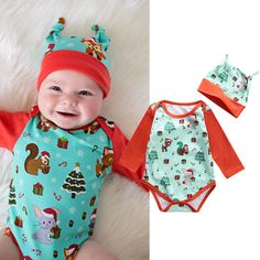 >> Click to Buy << 2016 Christmas Newborn Baby Clothes Cute Animal Fox Bodysuit Hat 2PCS Infant Bebes Girl Boy Romper Jumpsuit Outfits Clothing Set #Affiliate