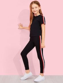 To find out about the Girls Solid Striped Trim Top & Pants Set at SHEIN, part of our latest Girls Two-piece Outfits ready to shop online today! Fashion Kids, Girls Fashion Clothes, Fashion Outfits, Preteen Girls Fashion, Girl Clothing, Kids Outfits Girls, Cute Girl Outfits, Kids Girls, Toddler Girls