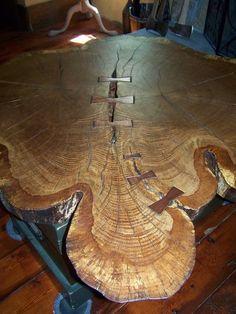 """50"""" diameter double trunk butterflied end grain white oak tree table"""