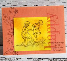 Two Girls Greeting Card Happy Summer Handmade Notecard with