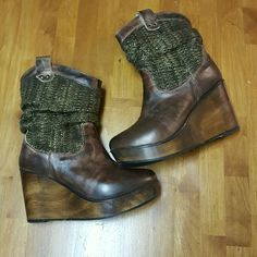 BedStu Bruges wedge booties Brown wedges Shoes Ankle Boots & Booties