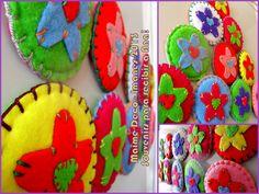 Souvenirs! Imanes grandes de 10 cm de diámetro realizados con cartón reciclado, pañolenci de diferentes colores, hilos de bordar y lanas de diferentes colores...