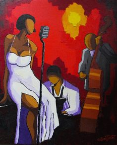 Original Music Painting by O Boissinot Dress Painting, Music Painting, Music Artwork, African American Art, African Art, Black Women Art, Black Art, Art Afro, Jazz Poster