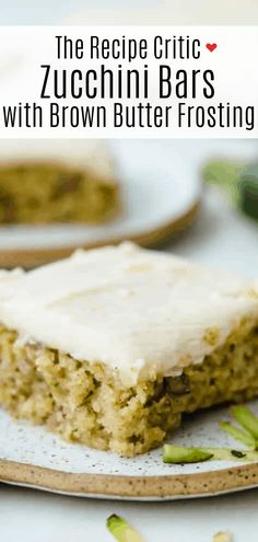 Zucchini Bars with Brown Butter Frosting is deliciously moist and absolutely heavenly. This is one of the best ways to use up those extra summer zucchini. Gluten Free Desserts, Cookie Desserts, Just Desserts, Delicious Desserts, Dessert Recipes, Zucchini Bars, Zucchini Bread, Brown Butter Frosting, Brown Butter Cookies