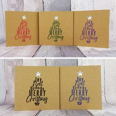 These Kraft mini handmade Christmas cards are 4 inches wide and 4 inches tall and feature a Merry Christmas message in the shape of a Christmas tree. This Christmas tree is then topped with a silver star gem. You can choose the colour of the ink used to stamp the Christmas tree on the cards.  These cards are available in packs of 5 or 10, with an additional saving on the 10 pack.  PERSONALISING YOUR CARDS: The following colours are available for the Christmas tree:  Black Green Blue Red… Merry Christmas Message, Christmas Tree And Santa, Christmas Messages, Handmade Christmas, Holiday Cards, Christmas Cards, Red Green, Blue, Sell On Etsy