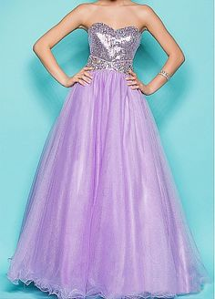 Glamorous Sequin Lace & Tulle Ball Gown Full length Strapless Sweetheart Full Length Prom Gown