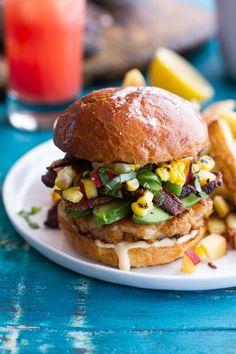 Lobster (& Shrimp) Burgers w/Browned Butter Lemon Aioli + Basil Corn & Peach Salsa, Bacon 'n' Avocado