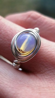 Bella- Sterling Silver Filled Wire Wrapped Glass Moonstone Ring-Custom Size. $9.56, via Etsy. - GOD I WANT THIS TOO!!!