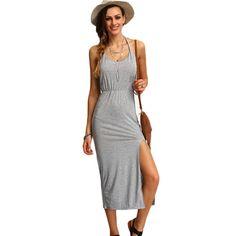 Halter Sleeveless Backless Side Split Sheath Long Beach Ladies Cotton Dresses Summer Dress Like if you remember Visit us