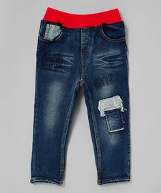 Look what I found on #zulily! Denim & Red Patch Pull-On Jeans - Boys #zulilyfinds