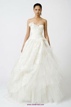 Vera Wang 'Freida' Painted Organza Dress - Nearly Newlywed Wedding Dress Shop