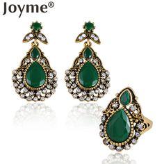 African Black Vintage Gold Long Hanging Earrings Set Rings For Women Fashion Wedding Turkish Jewelry Sets Femme Pendante Brincos