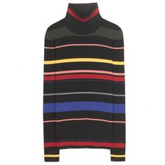 Stella McCartney - Wool turtleneck sweater - This Stella McCartney sweater shows off stripes for a striking effect. Mismatched madness occurs with the combination of colours which stand out on the black wool. The turtleneck is the finishing touch to the super-cool style. seen @ www.mytheresa.com