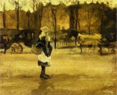 A Girl in the Street, Two Coaches in the Background, Vincent van Gogh, 1882.