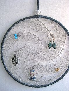 Earring Holder Display / Jewelry Organizer / College Dorm Room Decor / Dreamcatcher - Silver w/ Dark Blue Shimmer Border Wrapping on Etsy, $30.00