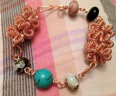 Gizmo coiled copper and semi precious beads