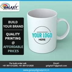 Bringing an economical way to promote your brand.  For bulk orders contact us at gdigital71@gmail.com  #CustomPrinting #CustomMerchandise #BusinessPromotion Order Contacts, Mug Printing, Bulk Order, Build Your Brand, Mugs, Prints, Tumbler, Mug
