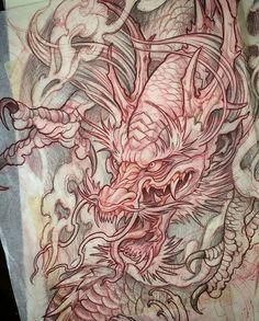 Artwork by: Mike Boissoneault Location: Cranston RI, USA Artist's IG: – Tattoo Sketches & Tattoo Drawings Dragon Tattoo Sketch, Dragon Tattoo Designs, Tattoo Sketches, Tattoo Drawings, Japanese Tattoo Designs, Japanese Tattoo Art, Japanese Sleeve Tattoos, Japan Tattoo, Irezumi