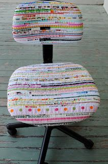 Chair by SueSue, guest poster on SewWeQuilt - tutorial too.  Oh, I have the ratty chair, and I have the miles of selvage .... I can't wait to try this.