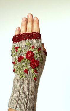 Hand Knitted Fingerless Gloves Roses Fall by nbGlovesAndMittens