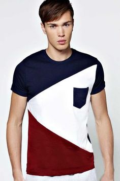 #FashionVault #boohoo #Men #Tops - Check this : boohoo Spliced Colour Block T Shirt - navy for $ USD