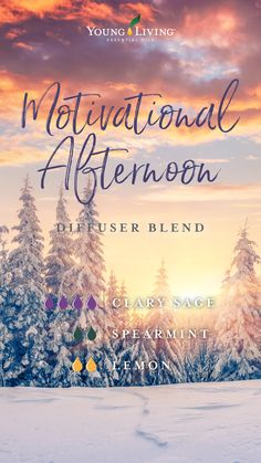 Uplift your spirits with this Motivational Afternoon diffuser blend! It's made with the relaxing aroma of Clary Sage, the invigorating but uplifting fragrance of Spearmint, and the bright and joyful aroma of Lemon essential oil. Clary Sage Essential Oil, Yl Essential Oils, Essential Oil Diffuser Blends, Yl Oils, Young Living, Bright, Diffuser Recipes, Diffusers, Doterra