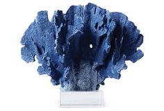 One Kings Lane - Uptown/Downtown - Blue Coral Objet on Glass Base