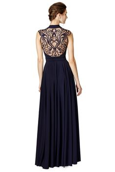 Midnight Blue Gown with an Intricate Embroidered Illusion Back