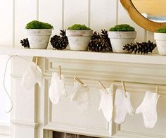 Crafts for a Beautiful Christmas Mantel - love the mittens, great for a winter garland too!