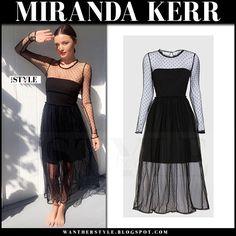 Miranda Kerr in sheer black tulle polka dot dress
