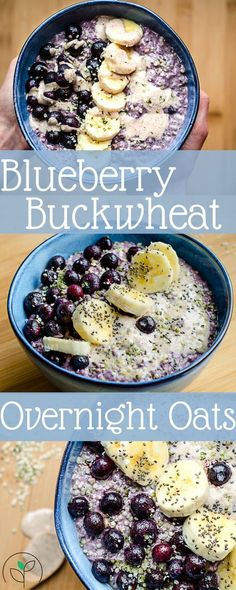 Rise Shine Cook - A Week Of Healthy Plant Based Breakfast Bowls: Overnight Blueberry & Buckwheat Oats - Vegan Recipes Buckwheat Recipes, Oats Recipes, Whole Food Recipes, Vegan Recipes, Plant Based Breakfast, Breakfast Bowls, Paleo Breakfast, Overnight Breakfast, Blueberry Breakfast