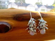 2 ways earrings with Czech glass beads and Opalite stone.♡♡ (Long chain version)