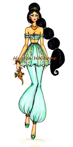 Hayden Williams Fashion Illustrations: The Disney Diva's collection by Hayden Williams: Jasmine