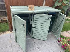 Triple Wheelie Bin Storage, Triple Bin Store, Outdoor Storage Units, Hide Trash Cans, Victorian Front Garden, Bin Shed, Cuprinol Garden Shades, Store Plan, Door Chains