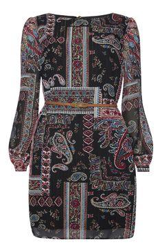 Primark - Black Paisley Print Chiffon Belted Dress