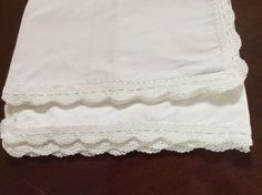 Cotton percale pillowcases with crochet edge by Cotton Crochet Company White Linens, Cotton Crochet, Pillowcases, Lace Shorts, Handmade Items, Knitting, Crafts, Projects To Try, White Bed Sheets