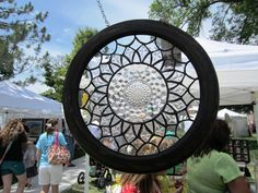Art glass including the bottom of a Fostoria American platter, by Nikki Root. Seen at the Logan Summerfest - Lisa Loves Logan blog