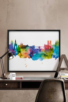 Edinburgh watercolor, Edinburgh skyline, Edinburgh print, Edinburgh poster, Scotland cityscape, Art, wall art, Gift, Home Decor, wall decor.