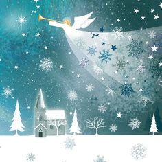 angel christmas cards | 10 beautiful cards with festive angel design and white envelopes.
