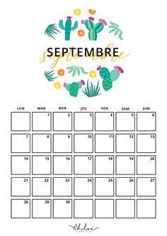 September Calendar Printable, Weekly Planner Printable, Printable Labels, Creative Calendar, Diy Calendar, Calendrier Diy, Organization Bullet Journal, Bullet Journal 2020, Journal Stickers